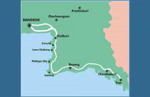 Pattaya ligt zo'n 150 kilometer ten zuidoosten van Bangkok.