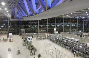 De vertrekhal op vliegveld Suvarnabhumi te Bangkok ligt op level 4.