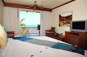 Uitzicht op zee vanuit je kamer in het Layalina Hotel.