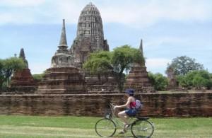 Het is leuk en praktisch om Ayutthaya per fiets te bezoeken.