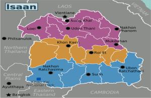 De regio Isaan ligt in het noordoosten van Thailand.