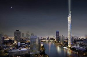 De kaarsachtige Bangkok Obeservation Tower wordt gebouwd aan de oever van de Chao Phraya rivier.