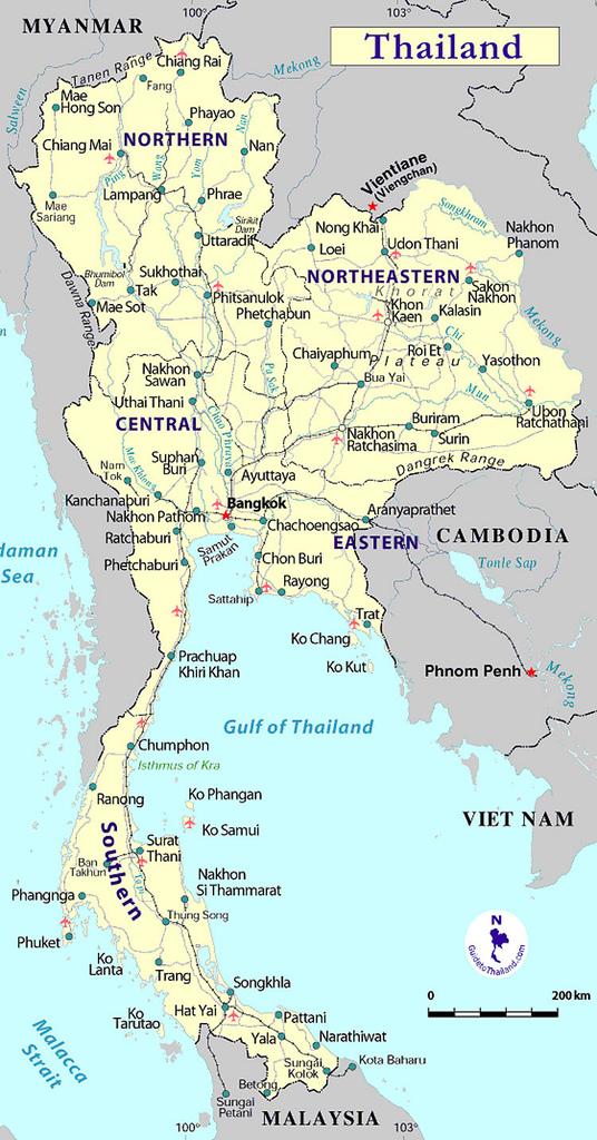 Thailand is te verdelen in het noorden, noordoosten, centrale laagland